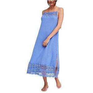 NWT FP Abbie Crinkle Crochet Trim Slip Dress